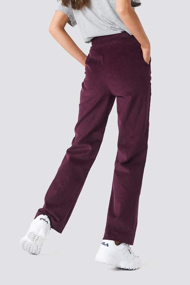 woman wearing corduroy pants