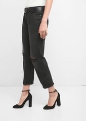 MID RISE RELAXED BOYFRIEND JEANS WITH DESTRUCTION BY GAP