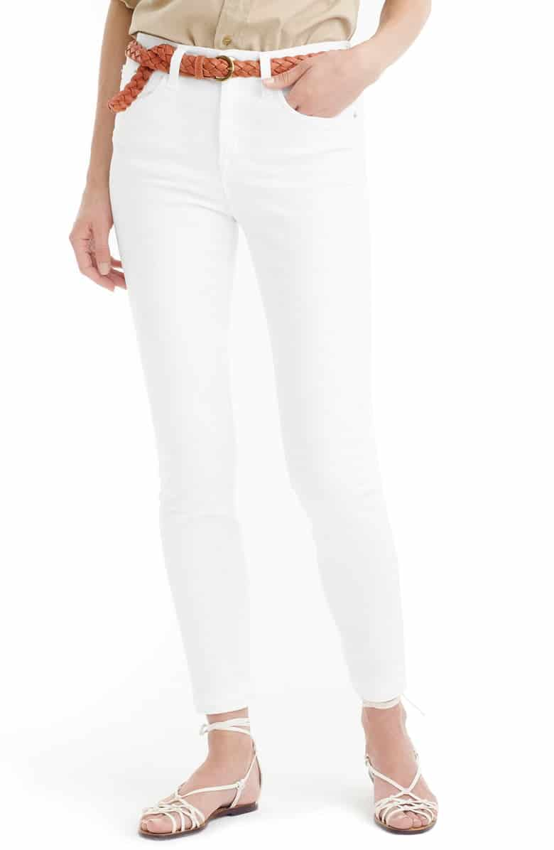 white skinny jeans - J CREW LOOKOUT HIGH RISE TOOTHPICK WHITE JEANS