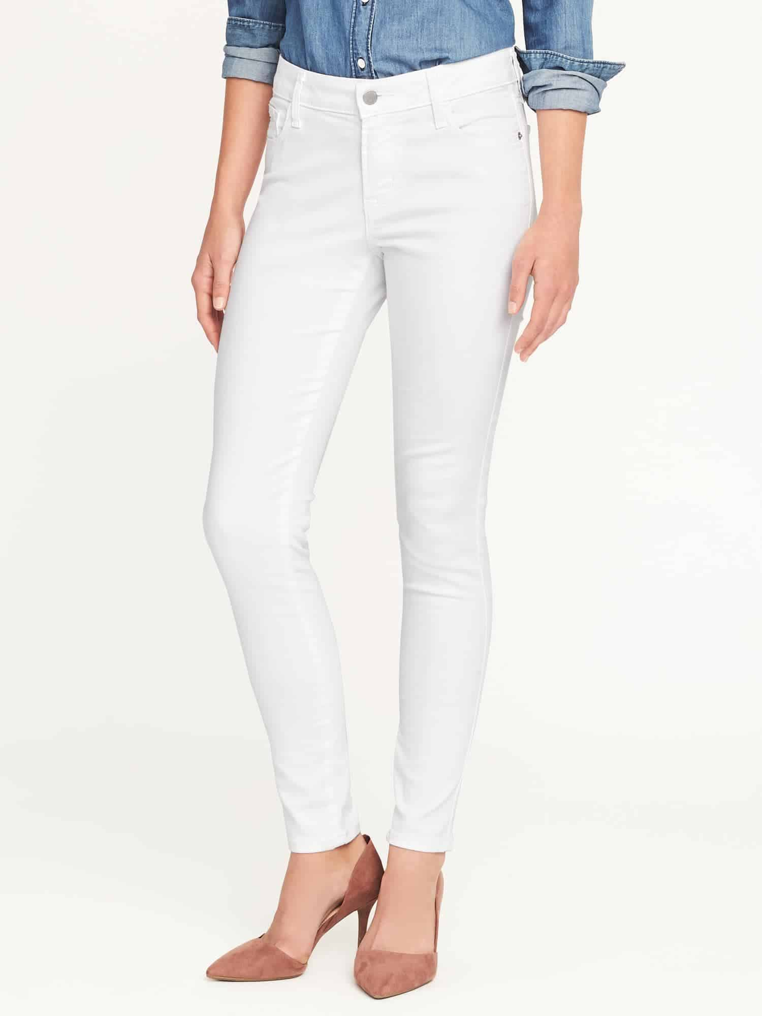 white skinny jeans - OLD NAVY MID-RISE CLEAN SLATE SKINNY JEANS