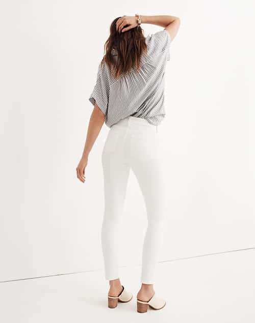 "white skinny jeans - Madewell 9"" High Rise Skinny Jeans in Pure White"
