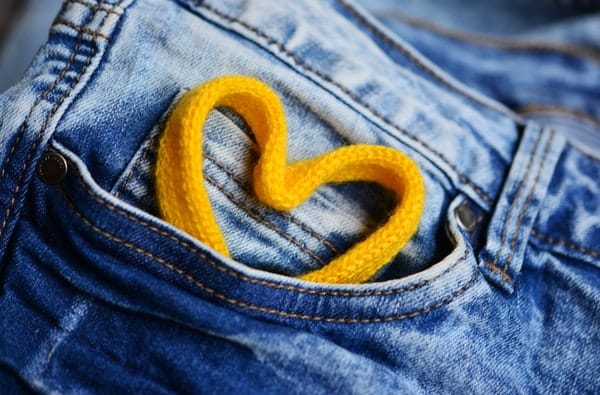 heart thread on jeans pocket