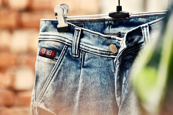 blue jeans with Britain patch