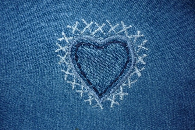 heart embroidery on jeans